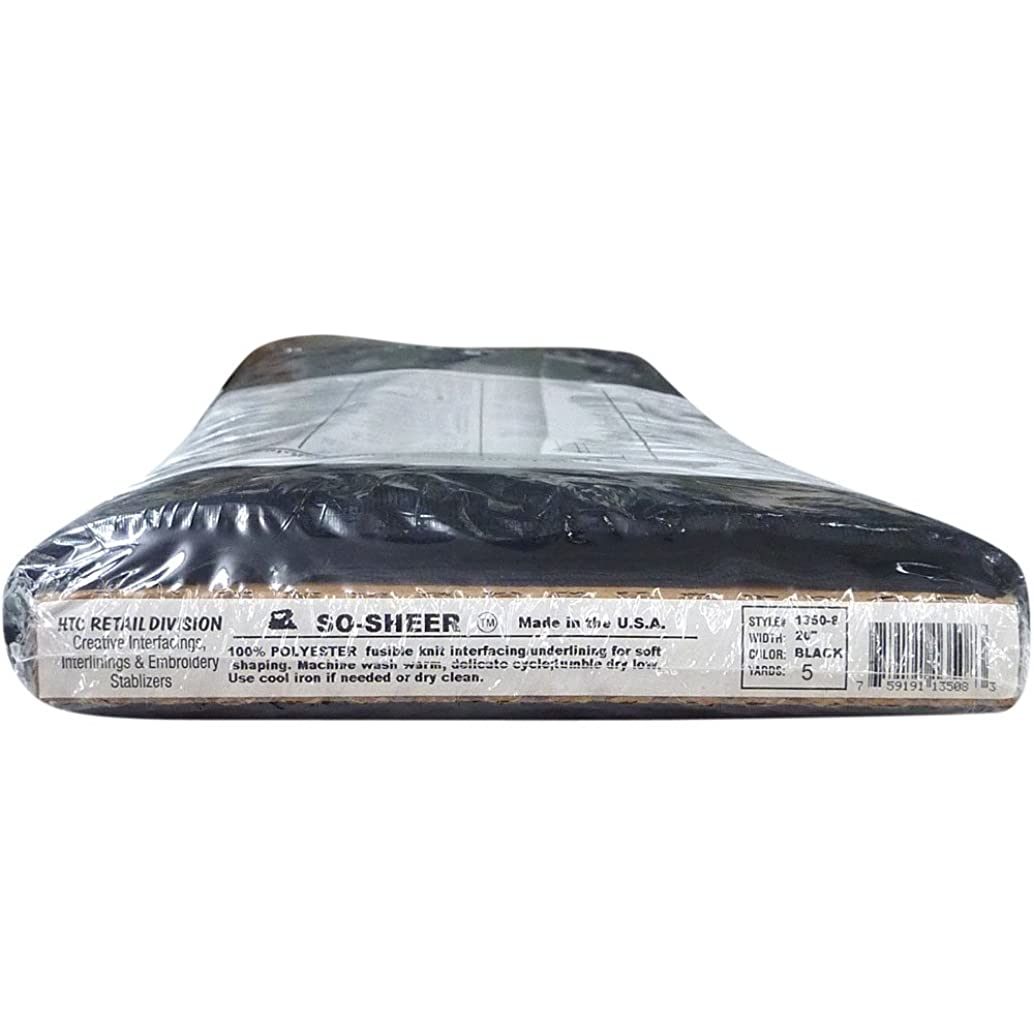 So-Sheer Black 5y. HTC1350-2 - 20 Inches Wide, Fusible Knit Interfacing/Underling Sold in 5 Yard Package
