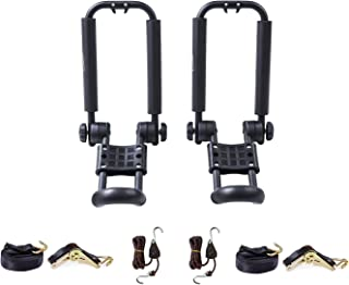 AA-Racks J-Bar Rack Roof Top Mount with 16 Ft Ratchet Lashing Straps & 10 Ft Ratchet Bow and Stern Tie Down Straps,  Folding Carrier For Your Canoe,  SUP and Kayaks on SUV Car Truck