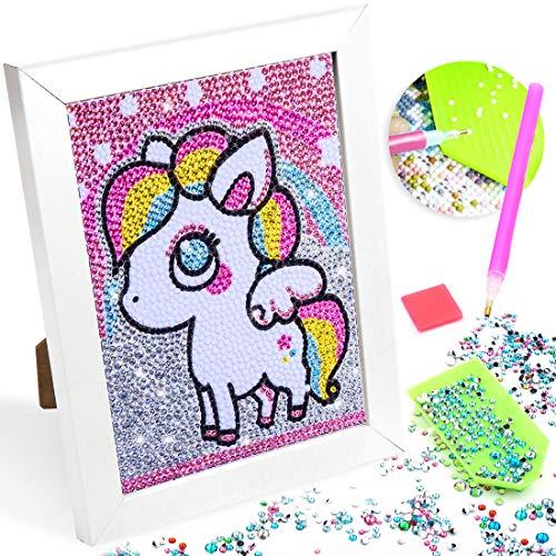 Diamond Painting Unicornio, 5d Diy Punto de Cruz Diamante, Kit de Pintura de Diamantes, Puzzle Unicornio Niña, Manualidades Cuadros para Craft Decoración del Hogar Color Unicornio