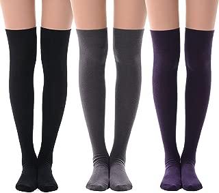 Women's Over Knee High Socks, MEIKAN Fashion Cotton Cosplay Thigh High Socks 3 Pack