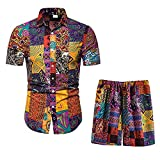 Men's 2-Piece Tracksuits Floral Hawaiian Printed Sweat Suit Casual Short Sleeve Shirt and Shorts Pants Set Outfit