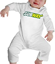 RuiPeng Baby Boys Girls Crew Neck Long-Sleeve Jersey Bodysuit Subway Wordmark Funny Crawling Suit Black