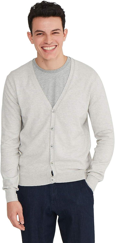 State Cashmere Men's Cotton Cashmere Lightweight V-Neck Button Down Cardigan Sweater