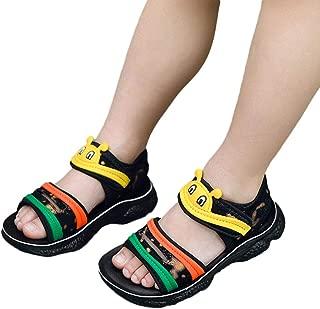 Hopscotch Baby Boys PU Animal Applique Open Toe Sandal - Yellow