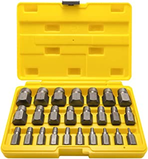 Topec 25Pcs Screw Extractor Set, Hex Head Multi-Spline Easy Out Bolt Extractor Set, Premium High Carbon Steel Rounded Bolt Remover
