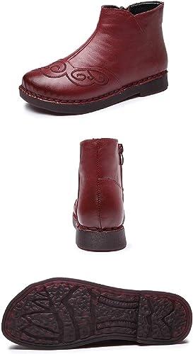 Gaslinyuan botas Bordadas mujer de Cuero con Cremallera zapatos Planos (Color   rojo, tamaño   EU 39)