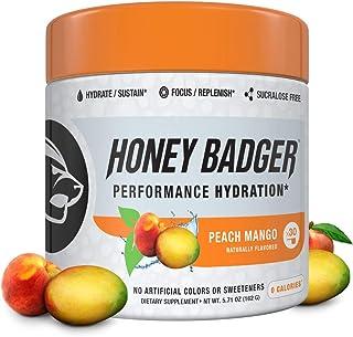 Honey Badger Vegan Keto Hydration BCAA + EAA Electrolytes | Peach Mango | Natural Rehydration Hangover Endurance | Caffein...