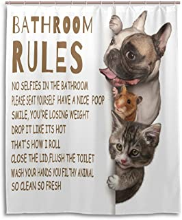 Family Bathroom Rules Shower Curtain Funny Quotes Cat and Dog Shower Curtains Guinea Pig Animal Bath Decor Hilarious Peepi...