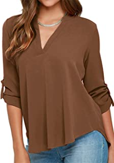 EFOFEI Womens Cuffed Long Sleeve Chiffon Solid Color Loose Tunic Shirt Work Tops Blouse