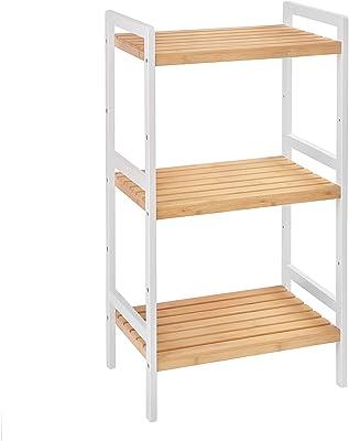 SONGMICS Étagère en bambou à 3 niveaux, Meuble de rangement pour salle de bain, Bibliothèque, 45 x 31,5 x 80 cm, pour salon, chambre, balcon, Couleur Boisée et Blanc BCB73Y
