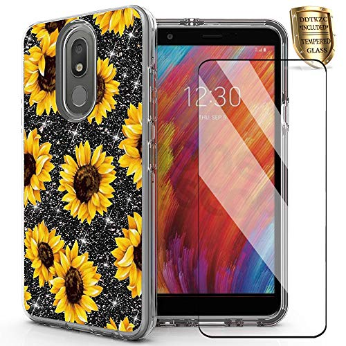 DDTKZC for LG Tribute Royal Case,LG K30 2019 Case, Tempered Glass Protector Lustre Pattern-Sparkle 3 in 1 Clear Shockproof Case for LG Escape Plus/Prime 2(Yellow Sunflower)