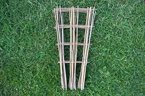 Tinobu Gitterspalier V-Form aus Bambus, Klettergerüst aus Holz, Rankgitter für Balkon und Kletterpflanzen, Maße: ca. B 12-28 cm x H 60 cm (5)