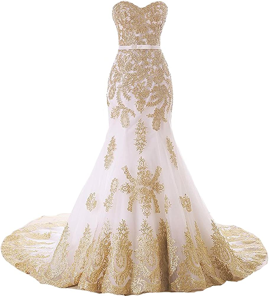 Lemai Mermaid Long Tulle Gold Lace Corset Sweetheart Wedding Dresses With Sash