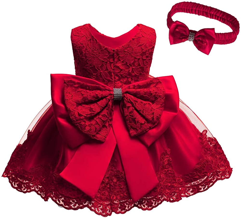 0-24M Toddler Baby Girl Embroidered Tutu Ball Gown Lace Dresses with Headwear