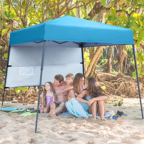 ABCCANOPY Pop-Up Canopy Tent Sun Protection Comapct and Lightweight Beach Canopy Slant Leg Backpack Canopy,Royal Blue