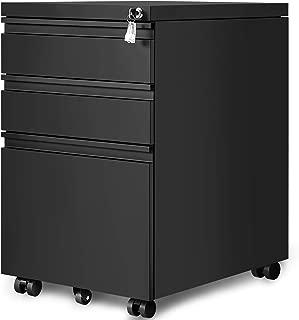 3-Drawer Mobile File Cabinets Rolling Metal Filing Cabinet for Legal & Letter File Anti-tilt Design with Lock Under Desk Office Drawers Fully Assembled Except Casters (Black)