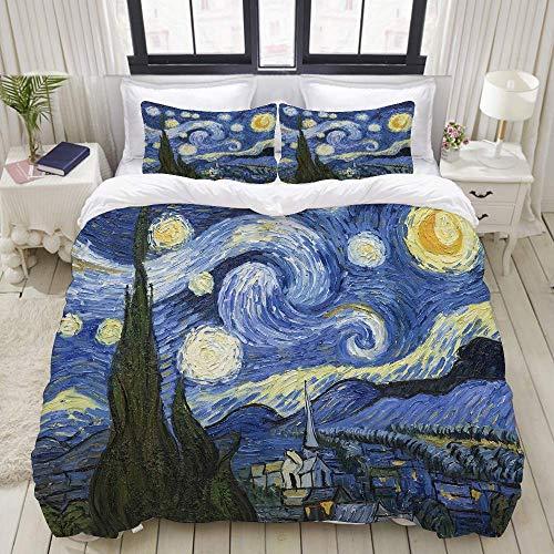 Set Biancheria da Letto,Notte Stellata Van Gogh Pittura a Olio,Copripiumino Matrimoniale 240 X 260 cm e 2 Federe 50 x 80 cm,Microfibra