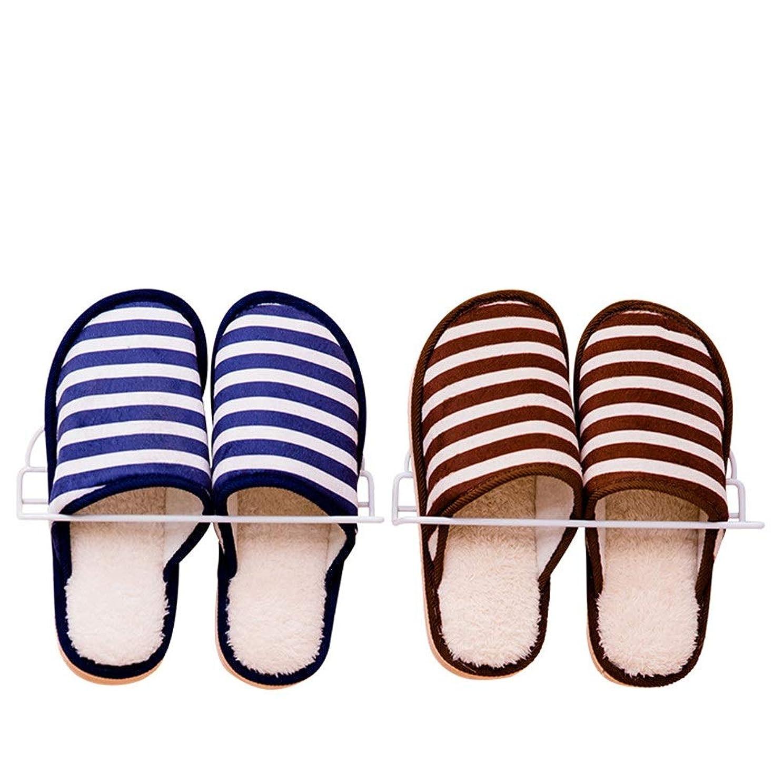 前文小道具取り出す靴ホルダー 省スペース 靴スタンド 掛かる戸棚のオルガナイザーの壁の台紙/スリッパ、2パックのための金属のドアの貯蔵上 (色 : 白, サイズ : 25*6.5*5.5cm)
