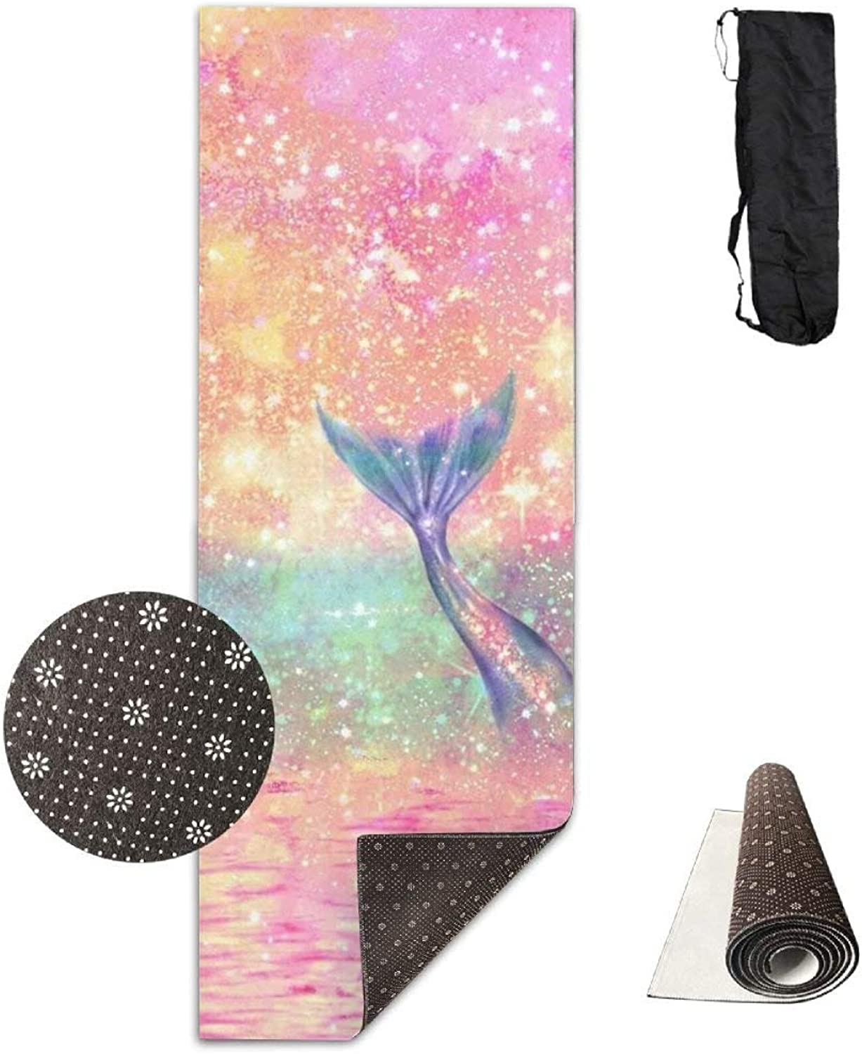 Shiny Pink Beach Mermaid Premium Print Durable Concise Fun Printing Yoga Mat for Yoga, Workout, Fitness 72X24 Inch