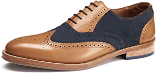 Samuel Windsor Men's Handmade Goodyear Welted Burgundy Split Brogue Italian Leather and Suede Shoe