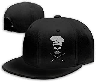 Michgton Skull Chef Mustache Unisex Snapback Adjustable Flat Bill Baseball Cap