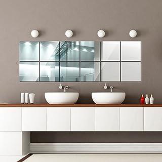 comprar comparacion 16 Piezas Cuadrados Espejos de Pared, DIY Decoración de la Pared para la Sala de Estar, Comedor, Cocina, Oficina