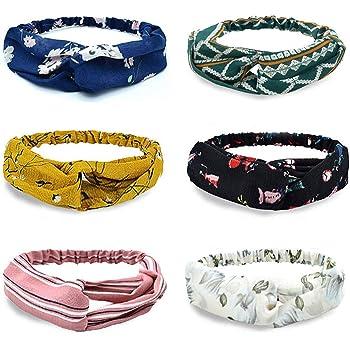 Damen Boho Stirnbänder - Haarband Retro Stirnband, Damen Stirnbänder 6 Stück Haarband Blumendruck Frauen Headwrap Twist Knoten Sport Yoga Dusche Stirnband (Orange)