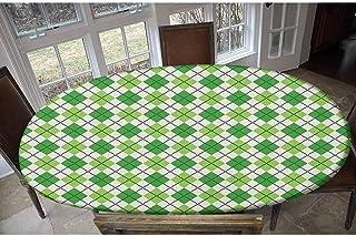Housse de table irlandaise élastique en polyester - Motif classique losanges avec lignes croisées - Pour table jusqu'à 121...