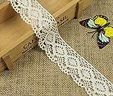 Yulakes Cinta de encaje de algodón de 10 yardas, 4,3 cm, estilo vintage, con encaje de ganchillo,...