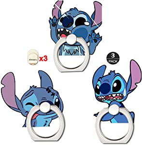 ZOEAST(TM) 3 Pack Phone Ring Grip,Cartoon Scrump Lilo Nani Universal 360° Adjustable Holder Car Desk Hook Stand Stent Kickstand Compatible with iPhone Samsung iPad Tablet (3pcs Shock Stitch)