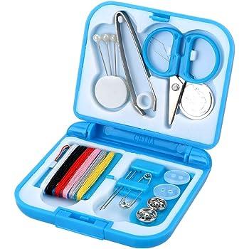 Runy DIY Herramienta de trabajo a mano de viaje Kits de costura caja portátil Mini caja de herramientas para el hogar Kitting Agujas Herramientas Bordado Artesanía (azul): Amazon.es: Bricolaje y herramientas
