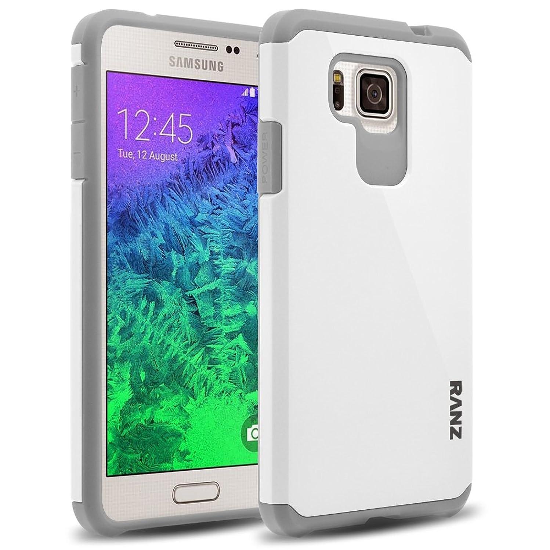Galaxy Alpha G850 Case, RANZ Grey with White Hard Impact Dual Layer Shockproof Bumper Case for Samsung Galaxy Alpha G850