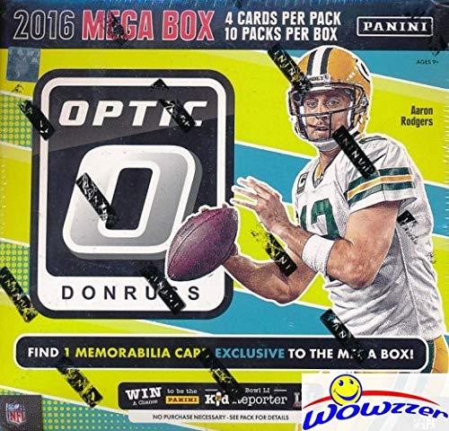 2016 Donruss Optic Football EXCLUSIVE Factory Sealed MEGA Box with MEMORABILIA & 5 SPECIAL PARALLEL ROOKIES! Look for RC's & Auto's of Dak Prescott, Carson Wentz, Ezekiel Elliott, Jared Goff & More!