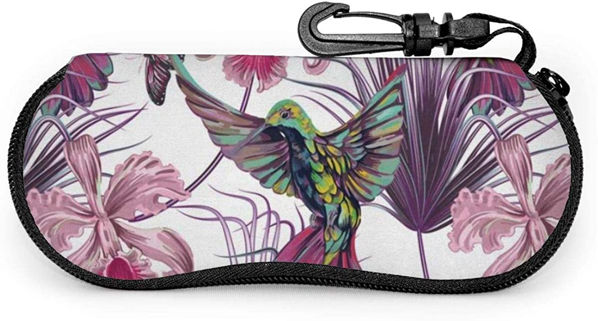 Hummingbirds With Palm Tropical Leaves Flowers Sunglasses Soft Case Ultra Light Neoprene Zipper Eyeglass Case With Key Chain