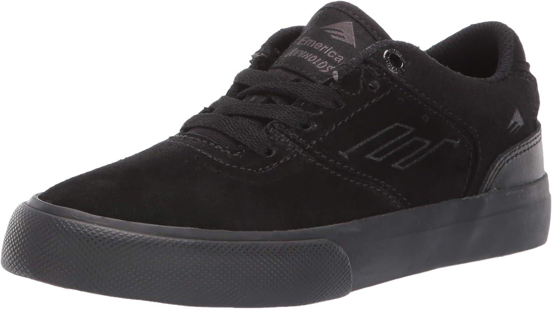 Emerica Boy's The Reynolds Low Vulc Youth Skate Shoe, Black/Black/Black, 2C Medium US Big Kid