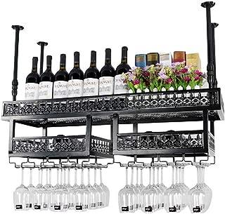 LJFJJ Wine Rack Rustic Wine Holder Hanging Glass Holder Ceiling Wine Racks Hanging Wine Glass Holder Industrial Home Decor Design (Color : Black, Size : 100x31cm)