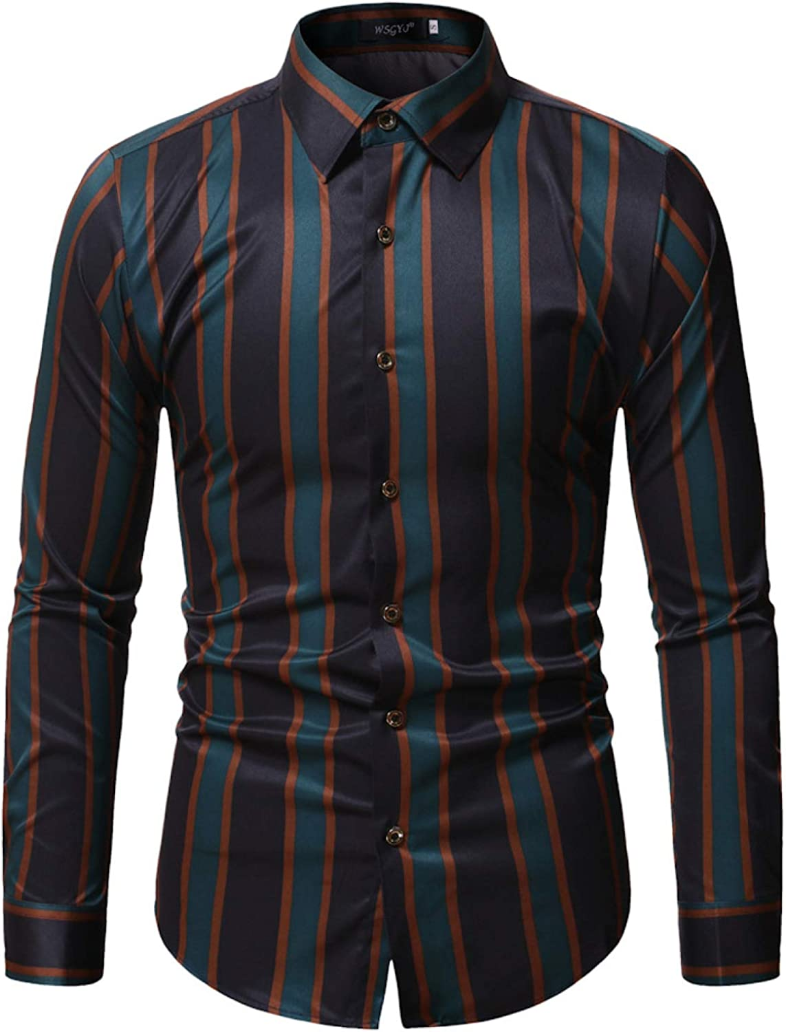 Men's Long-Sleeved free Shirts gift Autumn Plus Long- Classic Size Striped