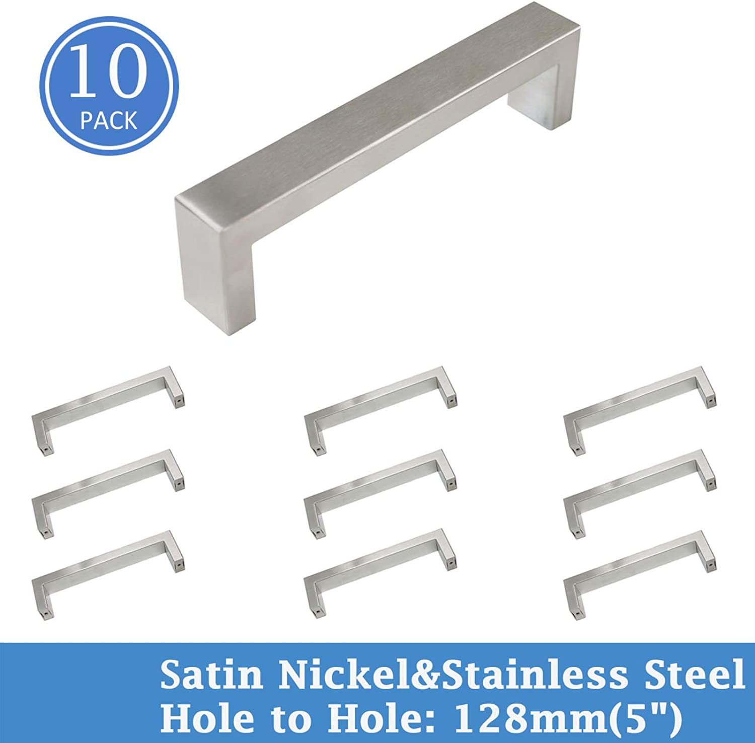 Knobonly Stainless Steel Cabinet Pull Handle 20mm Wide 5 inch Hole Centers Square Modern Kitchen Cupboard Handles 10 Pack