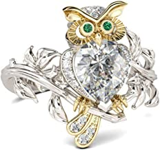 HOTSKULL 925 Sterling Silver Ring Two Tone 18k Gold Owl Eye Emerald Tree Vine Leaves Diamond Engagement Cocktail Party Wedding Band Rings