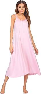 Ekouaer Womens Long Sleeve Sleep Shirt V-Neck Loose Nightshirt Sleepwear Nightgown Pajama PJ S-XXL