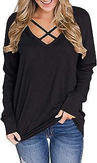 Genhoo Women's V Neck Criss Cross Short Sleeve T Shirt Tunics Tops Blouses Pullover Sweatshirt
