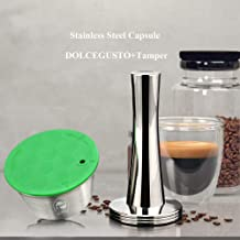 Refillable Coffee Capsule Reusable Pod Stainless Steel Coffee Filter for Dolce Gusto +Spoon+Brush (Capsule+Coffee Tamper)