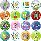 72 Pieces Science Party Button Pins Science Theme Pinback Buttons for Party Accessory, 12 Styles