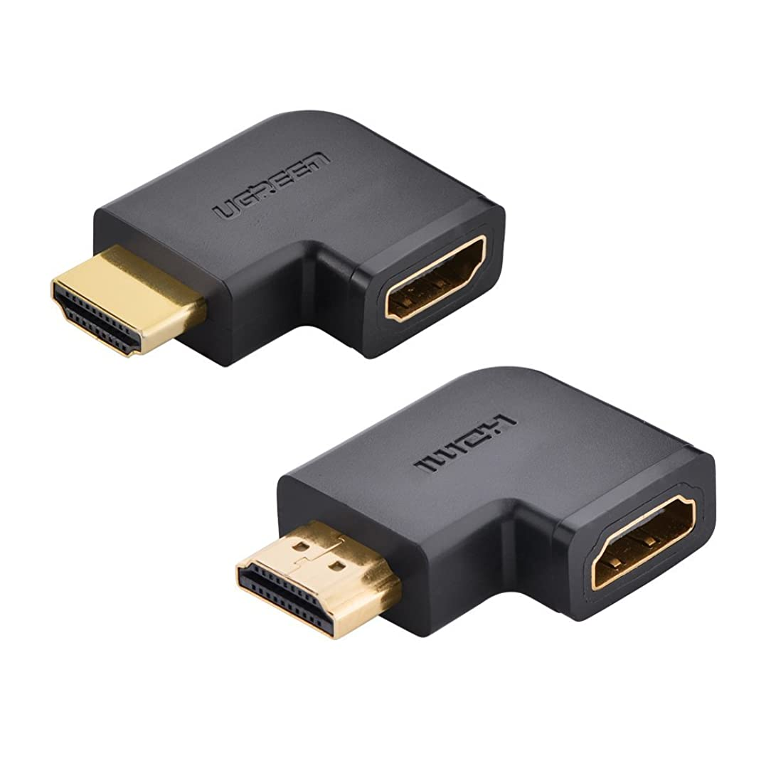UGREEN 2 Pack HDMI Adapter 90 and 270 Degree Right Angle HDMI Male to Female Adapter Support 3D 4K 1080P HDMI Extender for TV Stick, Roku stick, Chromecast, Nintendo Switch, Xbox, PS4, PS3, Laptop, PC
