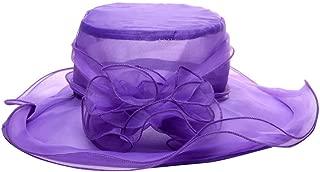ZUMUii Sombreros Butterme de Mujer con Tocado de Flores de Kentucky Derby para el Sol para la Iglesia ala Ancha y Tocado de Gasa Rojo Rosso de tama/ño Grande