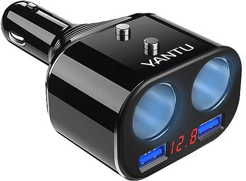discount YANTU Cigarette Lighter Splitter,Dual USB Car Charger,LED sale Voltage Display,2 Sockets,12V new arrival Car Splitter Adapter Dashcam Replaceable fus outlet online sale