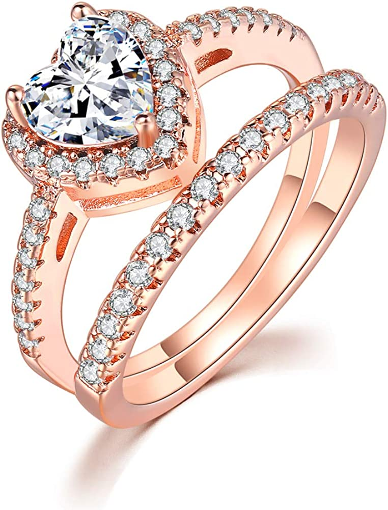 TIVANI-CITY Women's 2PCS Vintage 18K Rose Gold Plated Cushion Cut CZ Bridal Engagement Wedding Rings Set Best Anniversary Eternity Love Promise Rings for Her Heart&Arrow Jewelry Rings Enhancers
