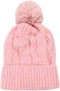 Ridkodg Beanies Women with Pompom - Soft Warm Knitted Hat - Solid Color Wool Hemming Sport Ski Hats