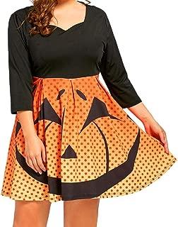 Clearance Halloween Dress, Forthery Women Pumpkin Skater Swing Dress A-line Skull Dress Plus Size