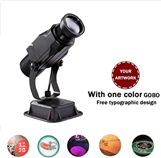 AMAZOIN 15W LED Custom Image GOBO Logo Projector with Manual Zoom for Parties, Weddings and Advertising (Indoor Plug-in Card)